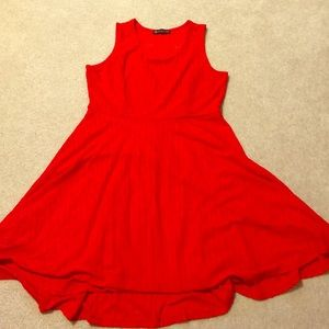 Red for and flare dress with back mesh detail